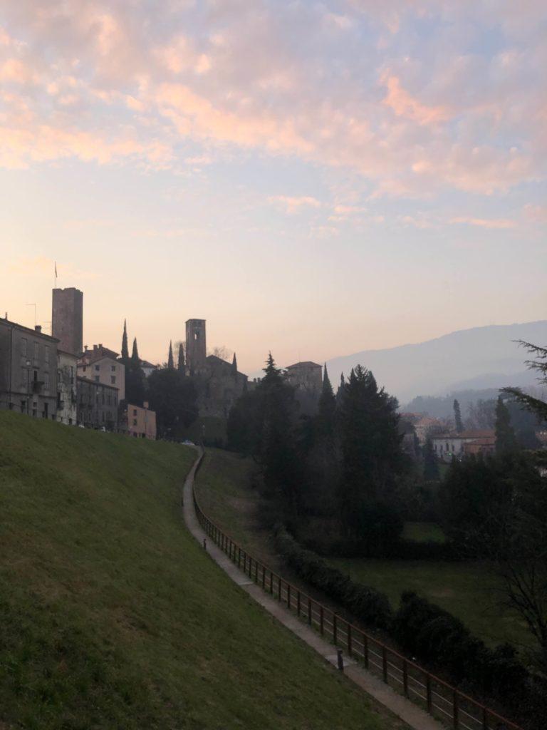 A view of Bassano del Grappa at dusk